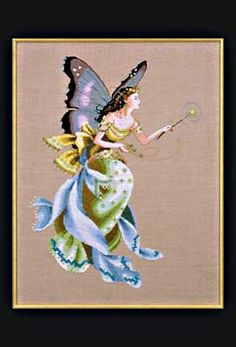 Cottage Garden Fairy - Mirabilia Cross Stitch Pattern. Model was stitched on 32ct Chestnut linen using DMC & Kreinik Metallic threads. Also uses Mill Hill beads