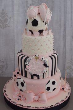 Soccer cake for a girl Football Birthday Cake, Soccer Birthday Parties, Soccer Party, Birthday Cake Girls, Football Cakes For Girls, Volleyball Cakes, Soccer Cakes, Soccer Baby Showers, Fantasy Cake