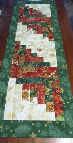 Christmas Quilted Table Runner Log Cabin Design Quilted Gift,Fast Shipping TBL111