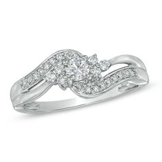 I've tagged a product on Zales: 1/3 CT. T.W. Diamond Swirl Ring in 10K White Gold