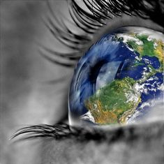 This is a very cool edited photo where they made the eyeball look like it is a globe. It is a very interesting final product and the contrasting colors really bring out the eye.