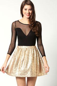 All Over Sequin Full Circle Skater Skirt