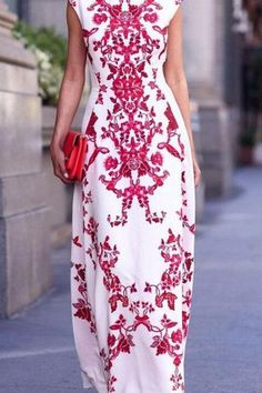 White Maxi Dresses, Maxi Dress With Sleeves, Prom Dresses, Casual Festival Outfit, Floral Print Maxi Dress, Stylish Dresses, Types Of Fashion Styles, Fashion Ideas, Bay Window