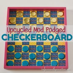 Mod Podge a checkerboard with an reused Melissa & Doug crate via @infarrantly