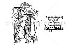 """Created by Angie Blom. This kit contains 2 stamps.  Girl measures approximately 2.25"""" x 3.25"""".  """"I am in charge of how I feel and today I am choosing happiness"""" sentiment measures approximately 1.25"""" x 1.5"""".  All Unity Stamps are pre-cut, mounted on cling foam and ready to use right out of the package – you can mount our stamps on any acrylic block.  Unity is known for its HIGH QUALITY red rubber stamp – to be used for years to come."""