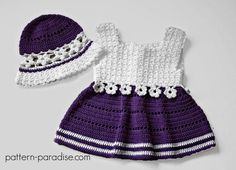Crochet Pattern Violet Blooms Dress & Hat Set by http://Pattern-Paradise.com