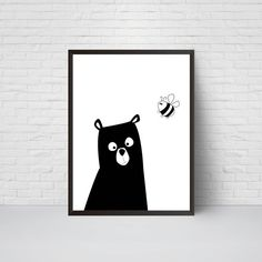 Bear pépinière Print l'ours avec Bee Bear Art noir et par EVEprints