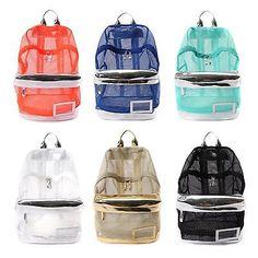 New 5 Colors Women Girl Fashion Mesh Backpack Rucksack Campus School Book Bag