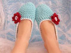 Aqua, Red and White Womens Crocheted Slipper.