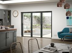 Grey aluminium bi-fold doors wide, with 3 doors delivered in 3 days. Thermally broken aluminium, double glazed, thick doors, narrow sight lines. Ready to install –no need for specialist fitters White Bifold Doors, Bi Fold Doors, External Bifold Doors, Aluminium French Doors, Kitchen Doors, Bi Folding Doors Kitchen, Patio Doors, Bifold Doors Onto Patio, Door Furniture