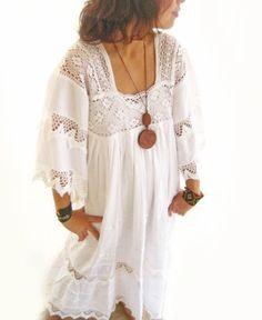 White Romantic Mexican Natural Maxi Dress Vintage door AidaCoronado, $280.00
