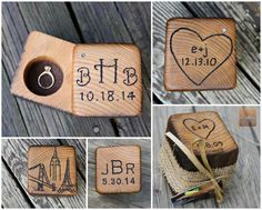 Wood Ring Box - Rustic Wedding - Personalized Ring Bearer- Rustic Ring Holder- Unique Engagement Ring Case by rusticcraftdesign on Etsy https://www.etsy.com/listing/119262760/wood-ring-box-rustic-wedding