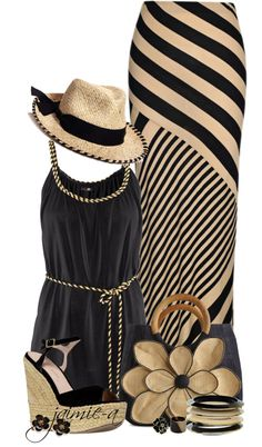"""""""Striped Maxi Skirt & Mar Y Sol Flower Satchel"""" by jaimie-a ❤ liked on Polyvore"""