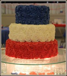 Red,White and Blue Wedding Cake....