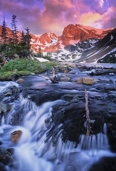 Shoshoni Peak and waterfall below Lake Isabelle, Indian Peaks Wilderness, Colorado. Taken back from the dinosaur days of photography, shot on film!