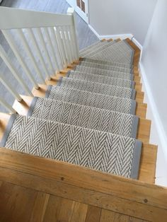 """Custom made stair runner with matching entrance mat. Tuftex mills style """"Only Natural"""" with wide cotton binding. Another beautiful job by Main Street Floor & Shade! Wall Tiles Design, Hallway Flooring, Hallway Designs, House Stairs, Staircase Design, Modern Staircase, Hallway Decorating, Reno, My Living Room"""