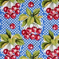 Valance Cotton 40 x 14 CHERRIES ON BLUE  Print 100 by AVintageLook, $20.00