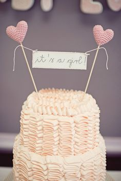 "Shabby Chic Little Birdie Themed Baby Shower #Pink #Ruffle #Cake with crochet heart toppers and ""It's A Girl"" Bunting"