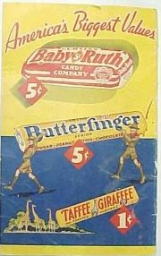 """Butter Fingers Candy Bar was released in 1927. The bar is filled with chunky peanut butter and is coated in chocolate. """"Alex-Jordan"""""""