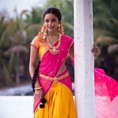 Andhra traditional half saree. T&A Designing.