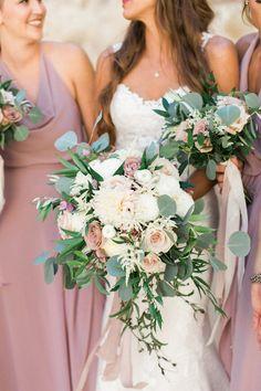 Wedding Color Trends: 40 Purple Mauve Wedding Color Ideas mauve bridesmaid dress and greenery wedding bouquet Mauve Wedding, Floral Wedding, Wedding Colors, Fall Wedding, Trendy Wedding, Wedding Floral Arrangements, Wedding Centerpieces, Wedding Decorations, Wedding Themes