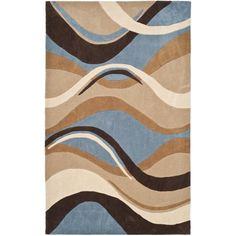 Safavieh Handmade Modern Art Abstract Waves Blue/ Brown Polyester Rug (4' x 6') , Size 4' x 6'