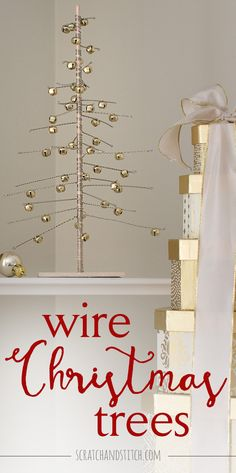 Try these easy handmade wire Christmas trees using wood, wire, beads or bells, and a power drill. Tutorial by scratchandstitch.com