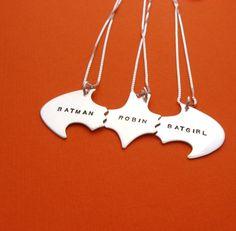 Batman Best Friend Necklaces for THREE Friends sterling silver - Batman Clothing - Ideas of Batman Clothing - Bff Necklaces, Best Friend Necklaces, Friendship Necklaces, Best Friend Jewelry, Best Friend Gifts, Gifts For Friends, Silver Necklaces, Batgirl, Mochila Kpop