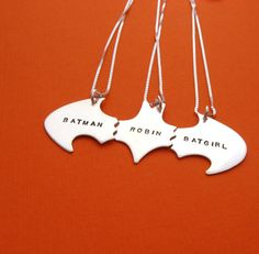 Hey, I found this really awesome Etsy listing at https://www.etsy.com/listing/170979437/batman-best-friend-necklaces-for-three