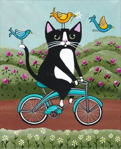 Spring Birds and Cat on a Bicycle
