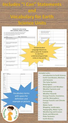"""Are you looking for a way to make your students more focused on what they should be learning, and more motivated to fill in gaps in their knowledge? This product includes student """"I Can Statements"""" or """"Keeping Track of my Learning"""" Pages for each unit and they have completely changed my class! They are specific objectives, written in first person, student-friendly language. They also include a list of suggested vocabulary for that unit assessment."""
