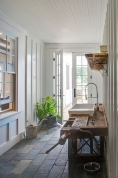 Entryway of the new farmhouse by architect Donald Lococo. Image via Gardenista.
