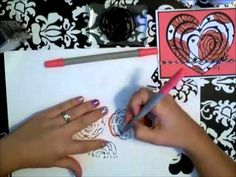How to make a layered heart card using the Close To My Heart Artiste Cricut Cartridge and Random stamping and coloring with the awesome NEW CTMH Alcohol Based Markers. Video Tutorial by Mandy Leahy