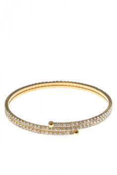 Double Coil Rhinestone Studded Wrist Cuff Bracelets
