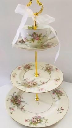 Very delicate Limoges Apple Blossom cake stand. Have cup top and plate top available #CakeStand #limoges #blossom #appleblossom #spring #desserttable #bridal #gardenwedding #birthdaygift #giftformom #easterparty #shabbychic #shabbychickitchen #blossomwedding #bonechina Romantic Wedding Decor, Unique Wedding Cakes, Dessert Table Decor, Table Decorations, 3 Tier Serving Tray, Limoges China, Wedding Cake Stands, Shabby Chic Kitchen, Easter Party