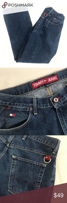 """Tommy Hilfiger 2002 Tommy Jeans size 34 Tommy Hilfiger 2002 Tommy Jeans size 34  Throwback to the late 90's and early 2000's!  Waist 34"""" Rise 11"""" Inseam 31""""   Not what you're looking for? Feel free to browse my closet for other occasions: Winter, spring, summer, fall, birthday, New Year's Eve, Valentine's Day date, Graduation, Prom, Purim, St. Patrick's Day, Easter, Earth Day, Cinco de Mayo, Mother's Day, EDC, Coachella, Memorial Day, Comic Con, 4th of July, Labor Day, Thanksgiving…"""