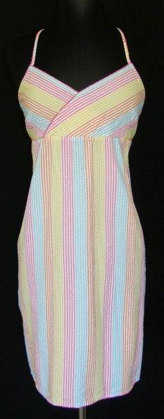 TOMMY HILFIGER Sleepwear Seersucker Striped Sleep Dress Slip Beach Cover Up  M #TommyHilfiger #BabydollChemise