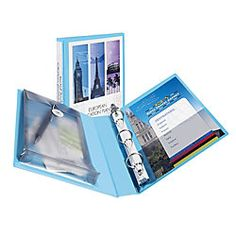 """Avery® Protect & Store™ Mini View Binder — 8 1/2"""" x 5 1/2"""", 1"""" Rings, 36% Recycled, Light Blue"""