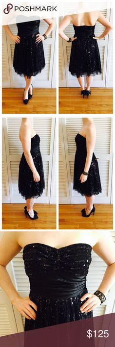 Sparkle & Sequin Black Holiday Dress Worn, but in great shape! Sequin top layer with tulle underlay. Back zip. Great formal dress! Le Chateau Dresses Prom