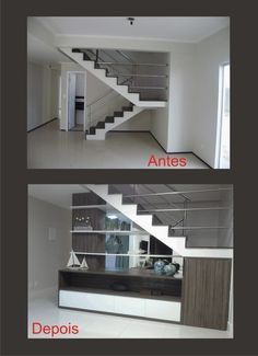 Space under stairs⚜️ Antes y después / Decor ideas. Basement Stairs, House Stairs, Interior Design Living Room, Living Room Designs, Space Under Stairs, Modern Stairs, Interior Stairs, Paint Colors For Living Room, Staircase Design