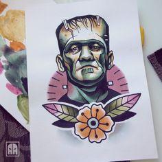 #frankenstein #monster  #ageevtattoo #traditionaltattoo #tattooinukraine  #flash #style #tattoo