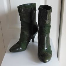 NINE WEST Green Suede + Faux Leather Alligator Print Patchwork Boots with Heels