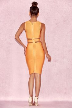 Clothing : Bandage Dresses : 'Maybel' Orange Cut Out Bandage Dress https://tumblr.com/Zuhqqc2Pj0Spv