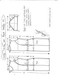 Esquema de modelagem de Vestido Tubinho tamanho 44.