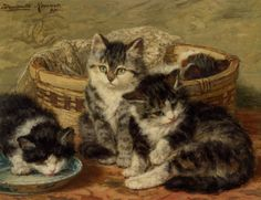 """Henriette Ronner-Knip (1821-1909)  Four Kittens  Oil on Panel  -1899  26.3 x 34.9 cm  (10.35"""" x 13.74"""")  Private collection"""