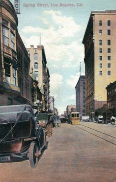 A 1912 postcard view of Spring Street. (Bizarre Los Angeles)