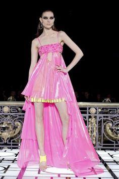 Hot Neon Pink with hidden yellow short-long hemline dress @Versace Versace Atelier Spring Summer Couture 2013 #Fashion