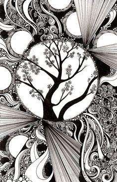 astratto bianco e nero con alberi