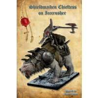 Shieldmaiden Chieftess on Icecrusher front view by Shieldwolf Miniatures