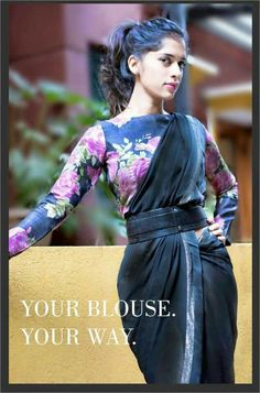 Floral blouse with dhoti saree and belt